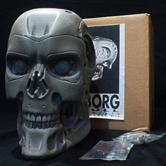 1:1 scale CYBORG SKULL GREY ZON SCULPTURE LAB