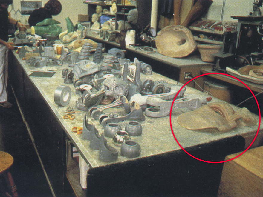 Stan Winston Studios during the making of the original movie. To the right is the large close-up prop.